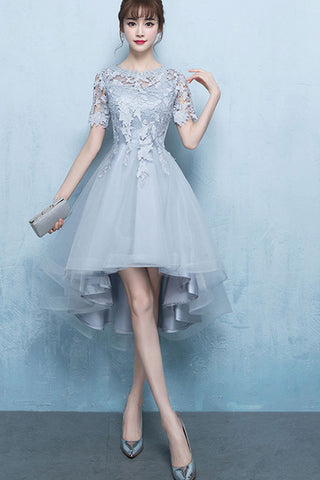 Hollow Out Patchwork High Low Tulle Formal Dress