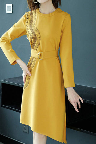 Long Sleeve Asymmetrical Hem Sheath Dress