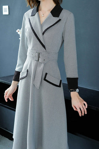 Long Sleeve Turn-Over Collar Belted A-line Dress