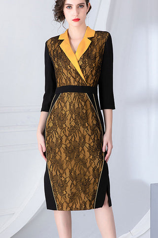 Turn Over Collar Lace Accent Sheath Dress