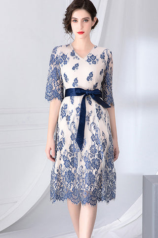Half Sleeve Embroidered Waist Belt Lace Dress