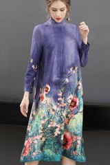 Long Sleeve Turtleneck Floral Shift Dress