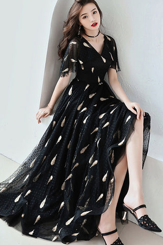 Flare Sleeve V-neck Embroidered Tulle Maxi Dress