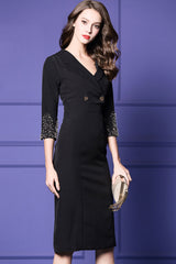 Beaded Sleeve Ends V-neck Sheath Dress