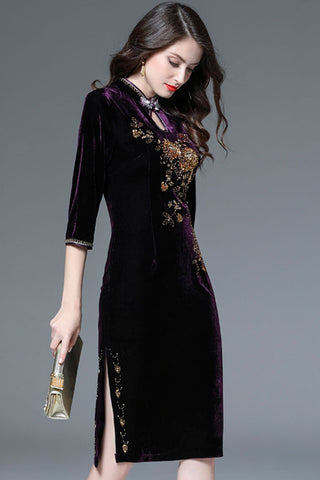 Three Quarter Sleeve Embroidered Velvet Sheath Dress