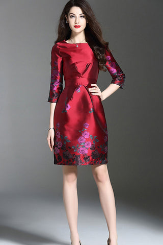 Three Quarter Sleeve Floral Midi Dress