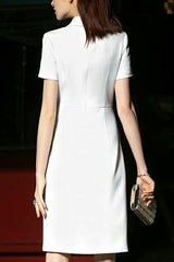 Short Sleeve Buckle Accent Sheath Dress