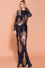 Long Sleeve Sequin Mermaid Maxi Dress