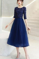 Half Sleeve Patchwork Contrast Tulle A-line Dress