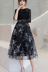 Half Sleeve Lace Top Contrast Midi Dress