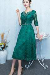 Half Sleeve Beaded Hollow Out Lace  A-line Dress