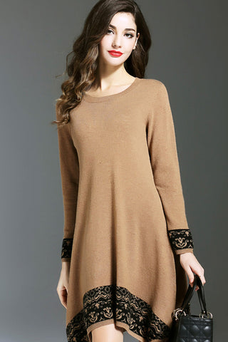 Long Sleeve Asymmetrical Hem Sweater Dress