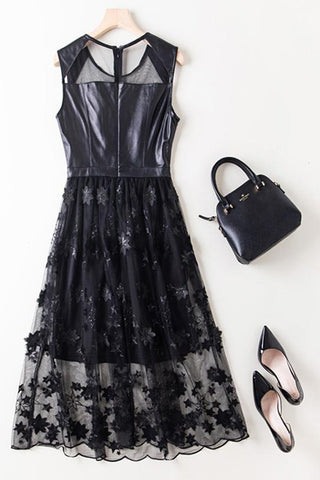 SLEEVELESS LEATHER AND EMBROIDERY MESH FIT AND FLARE DRESS