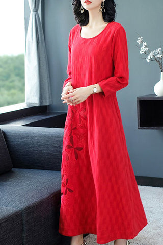 LONG SLEEVE EMBROIDERY LINEN LOOSE DRESS