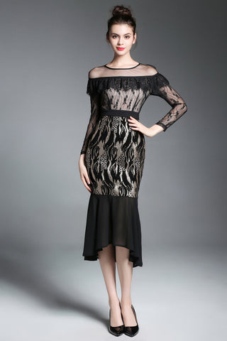 LONG SLEEVE MESH AND RUFLLE NECKLINE SEQUIN CONTRAST MERMAID DRESS