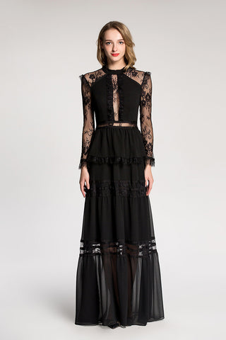 LONG SLEEVE CONTRAST MESH LONG DRESS