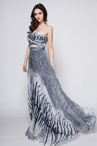 STRAPLESS LEOPARD PRINT CHIFFON MAXI DRESS