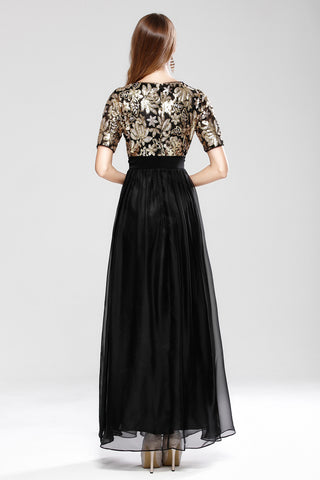 SHORT SLEEVE SEQUIN EMBROIDERY FORMAL DRESS