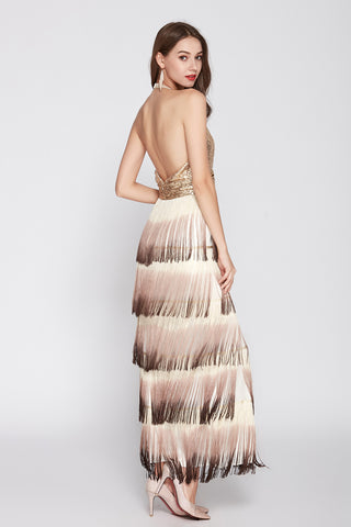 HALTER V-NECK SEQUIN LAYERERD TASSELS FORMAL DRESS