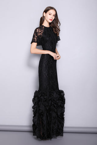 SHORT SLEEVE RUFFLE HEM LACE FORMAL DRESS