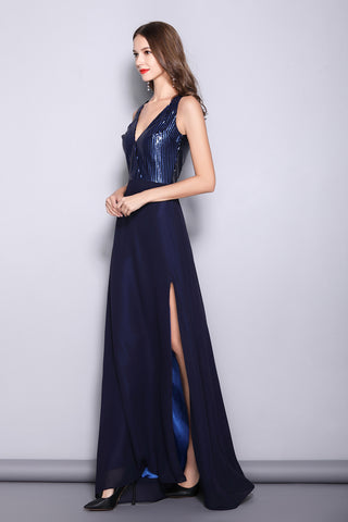 SLEEVELESS DEEP V-NECK SEQUIN FORMAL DRESS WITH SIDE SLIT