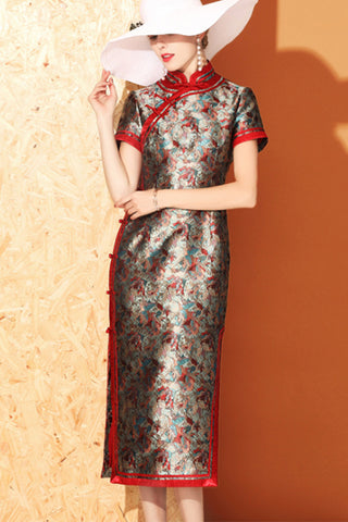 SHORT SLEEVE JACQUARD LONG CHEONGSAM