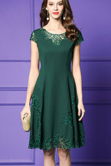 CAP SLEEVE EMBROIDERED A-LINE DRESS