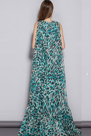 SLEEVELESS BELTED MAXI DRESS WITH CAPE BACK