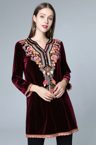 Long Sleeve Sequin Velvet Shift Dress