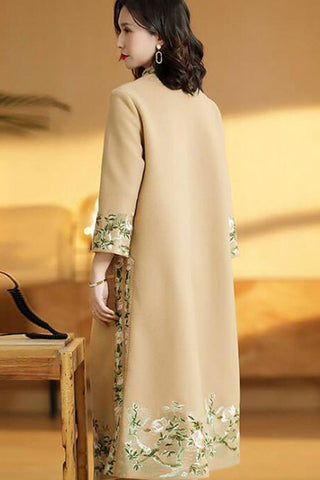 Three Quarter Sleeve Button Front Embroidered Overcoat