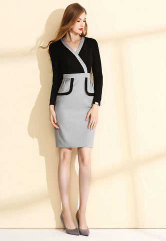 Long Sleeve Surplice Sheath Dress