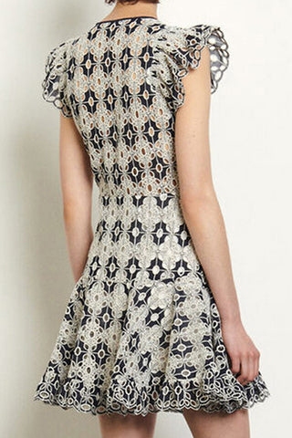 Ruffle Cap Sleeve Hollow Out Embroidered A-line Dress