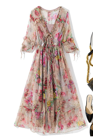 V-neck Waist Drawstring Floral Silk Fit&Flare Dress