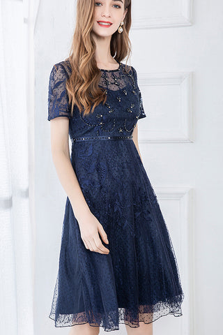 Short Sleeve Beaded Lace A-line Dress