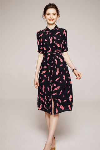 Short Sleeve Button Down Waist Belted Midi Dress