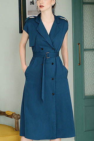 Cap Sleeve Double Breasted Waist Belted Dress