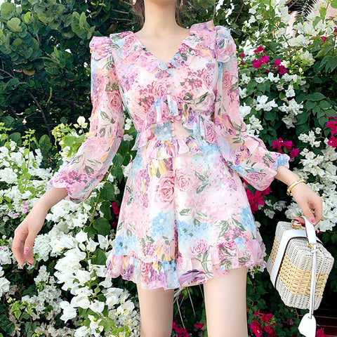 Bell Sleeve Floral Jumpsuit with Ruffle