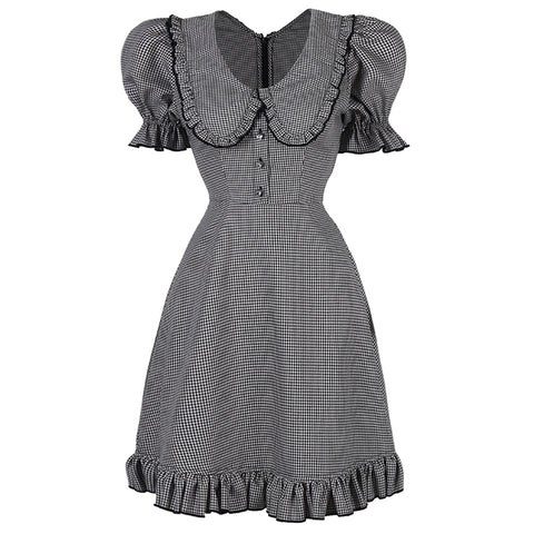 Aviva on Earth -Short Puff Sleeve Doll Collar Mini Dress with Ruffle