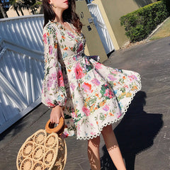 Aviva on Earth -Long Puff Sleeve Deep V-Neck Floral Fit & Flare Dress