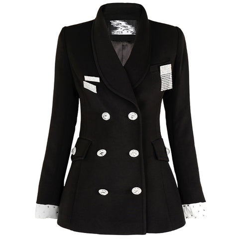 Aviva on Earth -Long Contrast Sleeve Double Breasted Long Blazer