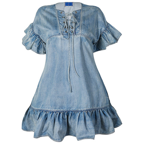 Aviva on Earth -Bandage Neck Ruffle Hem Denim Short Dress