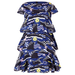 Aviva on Earth -Cap Sleeve Layered Dress with Belt