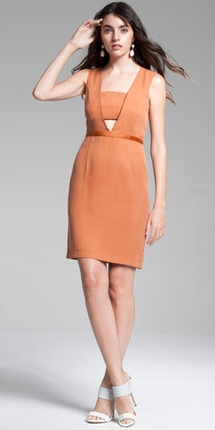 Panel Open-Front Bodycon Mini Dress - Rust