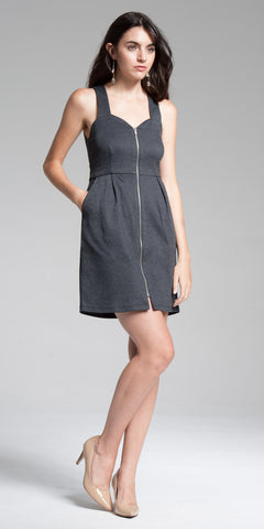 Zipperd Front Bodycon Mini Dress - Charcoal