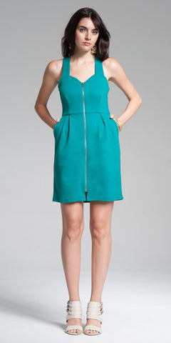 Zipperd Front Bodycon Mini Dress - Aqua