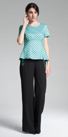 Short-Sleeve Zippered Peplum Top - Aqua