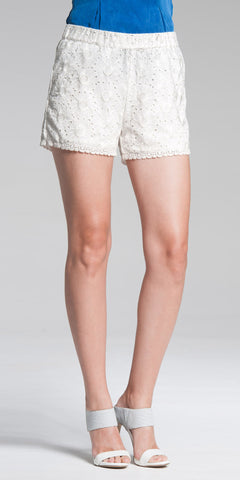 Viscose and Jersey Combo Shorts - White