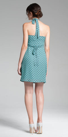 Printed Halter Dress - Aqua