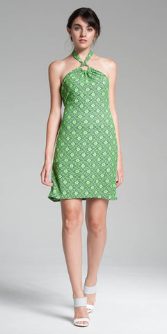 Printed Halter Dress - Lime