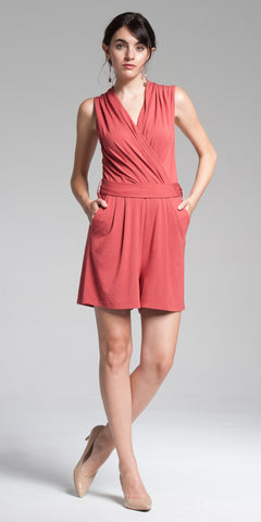 V-Neck Romper - Lt. Rust